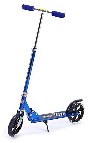 LINQ Altura Ajustable Scooter Adulto, Scooter de Empuje Plegable 3 Niveles de Altura Ajustable Ciudad Scooter con Trasero Mudguard City Scooter Viewer Azul