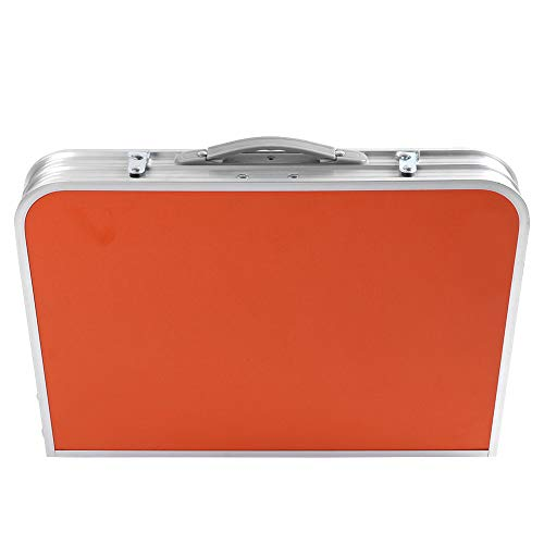 Xinwoer Ergonomischer Entwurfs-Griff-im Freien Faltbarer Tisch, tragbarer Faltbarer justierbarer Tisch im Freien kampierender wandernder Picknick-Laptop-Bett-Schreibtisch(Orange)