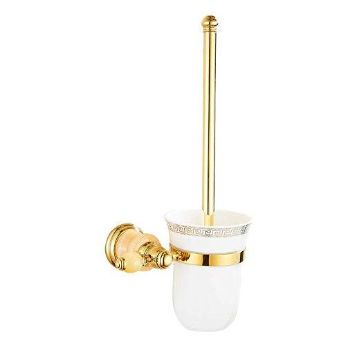 LXYZ Juego de portaescobillas de baño de Oro de Jade Natural de Cobre de Estilo Europeo Conjunto de Soporte de escobilla de Inodoro Colgante de Hardware Americano 37.5 * 17cm