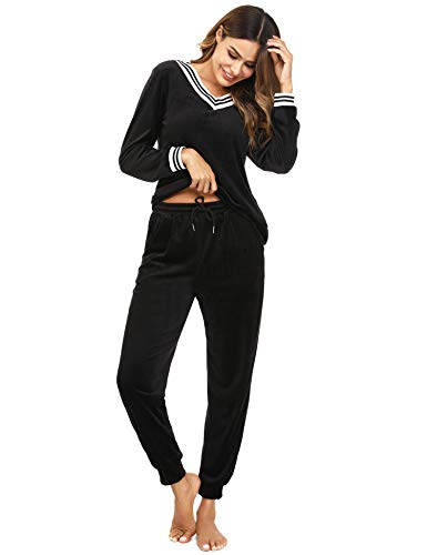 Irevial Damen Velours Hausanzug Nicki Schlafanzug Lang Winter Weicher Pyjama Anzug Set Zweiteiliger Flanell Trainingsanzug Oberteil und Hose mit Taschen Schwarz XL