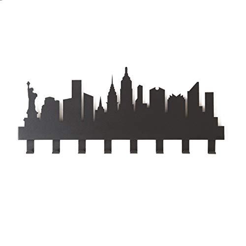 Arti & Mestieri New York - Appendiabiti di Design 100% Made in Italy - in Ferro, 82 x 30 cm - Nero Goffrato