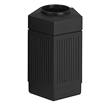 Safco Products Canmeleon Outdoor/Indoor Open Top Pentagon Trash Can  Black Five Fluted Panels 30-Gallon Capacity