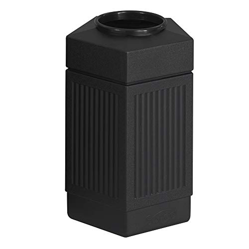 Safco Products Canmeleon Outdoor/Indoor Open Top Pentagon Trash Can , Black, Five Fluted Panels, 30-Gallon Capacity
