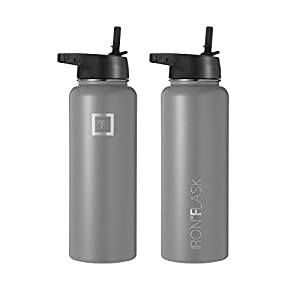 Iron Flask Sports Water Bottle - 32 Oz, 3 Lids (Straw Lid), Vacuum Insulated Stainless Steel, Hot Cold, Modern Double Walled, Simple Thermo Mug, Hydro Metal Canteen (Graphite)