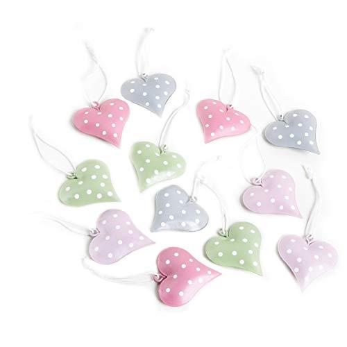 16 piccoli ciondoli a forma di cuore, in legno, bianco + grigio, 3 cm, per albero di Natale, Shabby chic, decorazione per matrimonio, Natale, da appendere