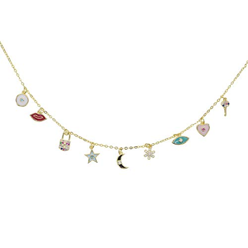 Tianziwen Le dernier collier tendance classique en 2021, la déclaration colorée d'été est couverte de petites fleurs, la lune étoile embrassant le cœur du collier, le premier choix
