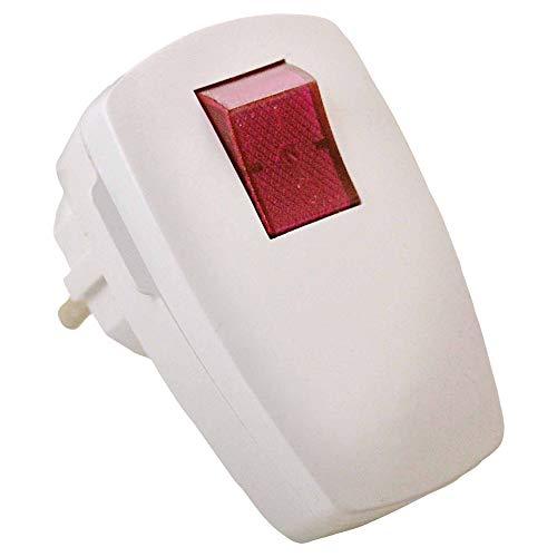 as - Schwabe Schutzkontaktwinkelstecker – Schuko-Stecker mit beleuchtetem Schalter 230 V / 16 A – Innen-Bereich geeignet – Strom-Stecker für Schuko-Steckdosen – IP20 – Weiß I 45034