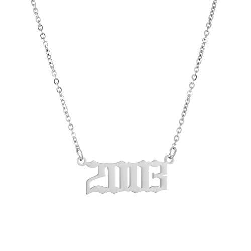 AFSTALR Damen-Halskette mit Geburtsjahr, Geburtstagsgeschenke, Anhänger, Freundschaftsschmuck für Mädchen 2003 Silber
