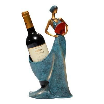 ANTONIDAS Base Creativa Figuras Decorativas Adornos Moderno Minimalista Azul Take Fan Beauty Beauty Rack Decoración Original Boda Artesanía Estante de Vino Independiente (Color : Dark Khaki)