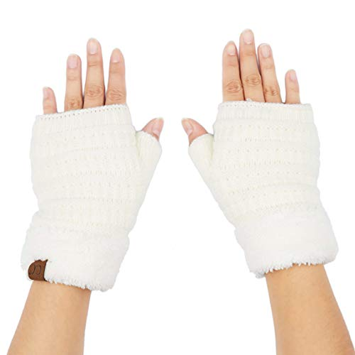 C.C Fingerless Gloves Fuzzy Lined Knit Wrist Warmer Solid Ribbed Glove (FLG-25) (Ivory)
