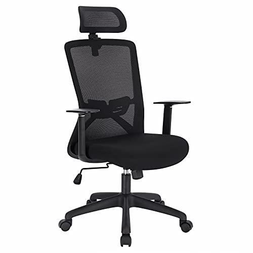 WOLTU BS118sz Bürostuhl Schreibtischstuhl ergonomischer Computerstuhl Drehstuhl Arbeitsstuhl Chefsessel Mesh PC Stuhl mit Armlehnen Lendenwirbelstütze Wippfunktion, höhenverstellbar schwarz