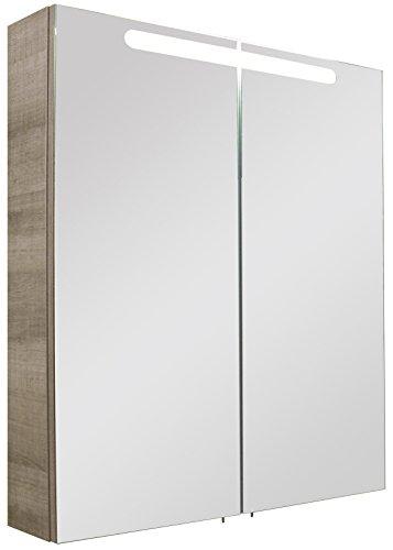 FACKELMANN Spiegelschrank A-VERO/Badschrank mit gedämpften Scharnieren/Maße (B x H x T): ca. 70 x 79,5 x 15,5 cm/hochwertiger Schrank fürs Badezimmer/Korpus: Braun hell/Front: Spiegel