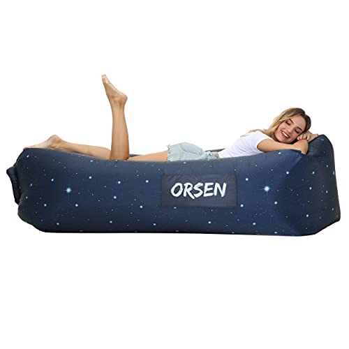 Orsen Inflatable Lounger Air Sofa, Inflatable Beach Chairs Anti Leakage Couch for Outdoor, Lakeside Portable Hommock with Compression Sacks Camping Accessories Ideal Gifts for Men and Women