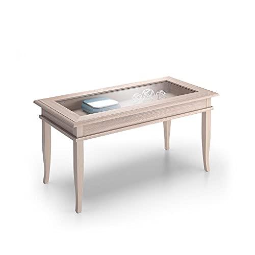 Mobili Fiver, Tavolino da Salotto, Classico, Olmo Perla, Nobilitato/Vetro, Made in Italy, Disponibile in Vari Colori