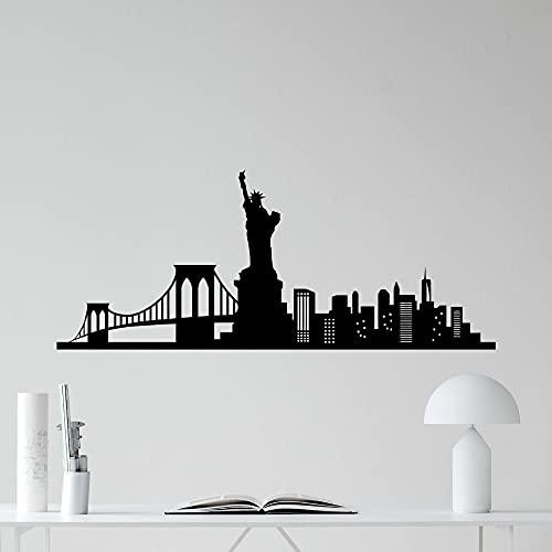 New York City Skyline Landmark Building Estatua de la Libertad Puente Rascacielos Vinilo Etiqueta de la pared Calcomanía Dormitorio Sala de estar Oficina Estudio Decoración para el hogar Mural