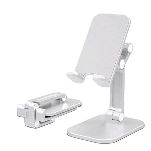Svnaokr Mobilställ vikbar, mobiltelefonhållare för bord/vinkel och höjdjusterbart mobiltelefonfäste på skrivbordet, kompatibel med mobiltelefon surfplatta (4–10 tum) (silver)