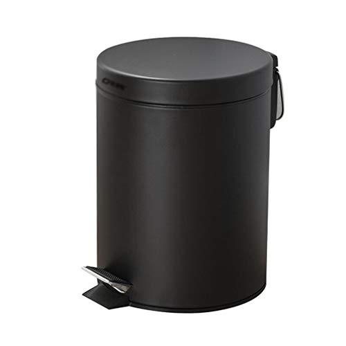 Cubo de Basura de Interior La basura de lata redonda, Hogar lenta basura silenciosa puede, 1.3 y 3 galones Mate Negro con el pie, cocina y baño Cubos de limpieza con tapas Papeleras de la Cocina de la