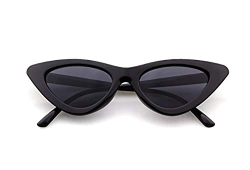 Sunglasses for kids,FOURCHEN Bold Retro Oval Mod Thick Frame Sunglasses Round Lens Clout Goggles (cat eye black)