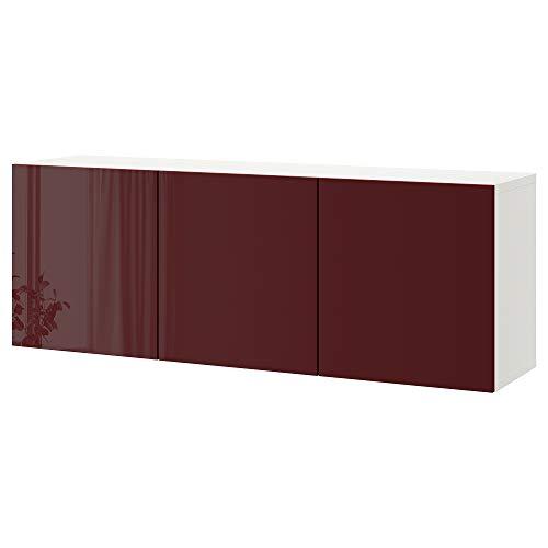 BESTÅ wandkast combinatie 180x42x64 cm wit Selsviken/hoogglans donkerrood-bruin