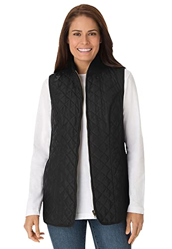 Woman Within Women s Plus Size Zip-Front Quilted Vest - 3X, Black