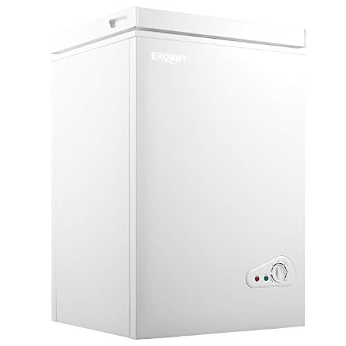 EROMMY Chest Freezer, 3.5 Cubic Feet Small Deep Freezer, Mini Deep Freezer with Storage Basket and Adjustable Legs, Freezer Chest for Home, Kitchen, Office, Bar