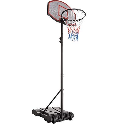 TecTake 403506 Panier de Basketball sur Pied Mobile Hauteur Réglable env. 178-213 cm Adulte Enfant Extérieur Intérieur 2 roulettes