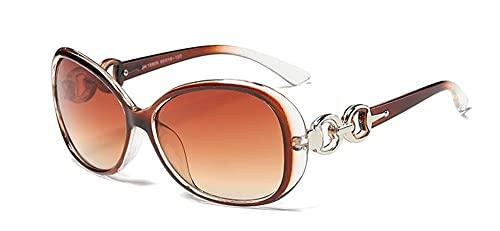 MINGQIMY Gafas de Sol 2021 Vintage Gafas de Sol Mujeres diseñador de la Marca Gafas de Sol para Mujeres Gafas Redondas Gafas de Sol de Marco Grande (Lenses Color : Tea)