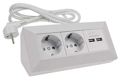 2-fach Ecksteckdose mit 2x USB 1,5m Kabel Vormontiert I Kinderschutz I 230V Küchensteckdose für Aufbau & Eck-Montage I Arbeitsplatte Küche Werkstatt I Matt-Weiß