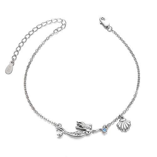 Women's Little Mermaid Bracelets Anklets With Shell, Teen Girl Blue Zirconia Bracelet, Fairy Mermaid Children's Sea Jewelry Gift