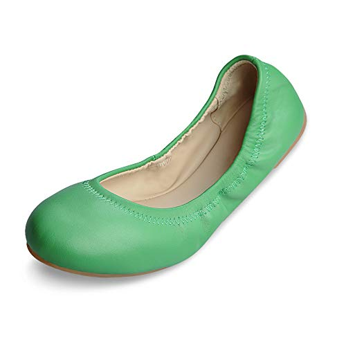 Xielong Women's Chaste Ballet Flat Lambskin Loafers Casual Ladies Shoes Leather Green Mirror 10
