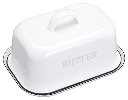 KitchenCraft Living Nostalgie im Vintage-Stil Emaille-Butterdose / Butterdose mit Deckel – White mit Grauem Rand