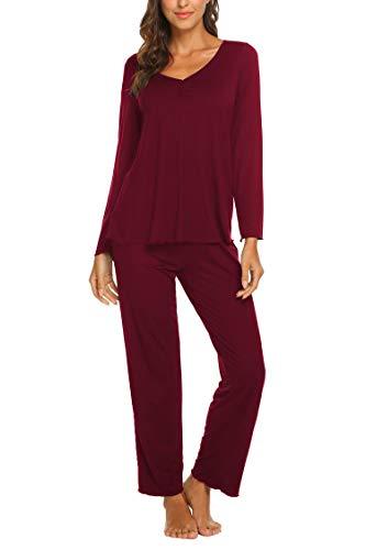 MAXMODA Damen Schlafanzug Lang Zweiteilige Nachtwäsche mit Baumwolle Pyjama Langarm V-Ausschnitt