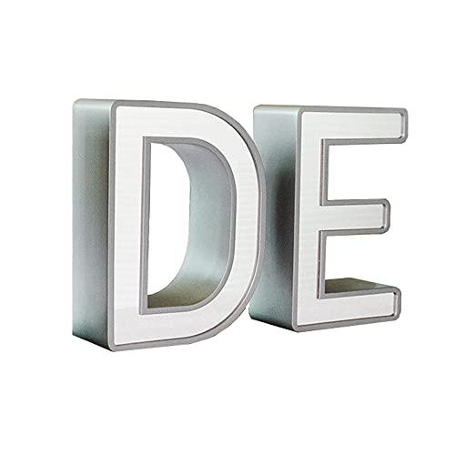 Número de casa 3D iluminado 5 pulgadas de acero inoxidable, números de casa a prueba de rugosión y resistente a intemperie en efecto 3D número de señal de dirección con letra LED el hogar luz blanca