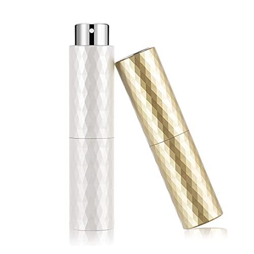 Leplatom Perfume Atomizer 8ml Portable (2pcs), Rotary Fine Mist Sprayer, Mini Empty Spray Bottle, Refillable Travel bottles, With Funnel and Distributor (White & Golden)