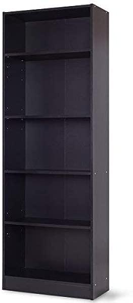 Tangkula 5 Shelf Bookcase Modern Wood Multipurpose Collection Display Storage Shelves Black