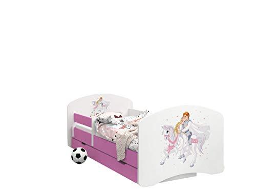 Happy Babies -LIT D'ENFANT ROSE DOUBLE FACE AVEC TIROIR Design Moderne Avec Bords Sécurisés et Matelas en Mousse Antichute 7 cm (33. Prince sur cheval blanc, 190x90)