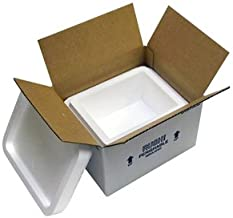 "product image for Small Foam Cooler Insulated Carton with Foam Shipper 4 Quarts, 8"" x 6"" x 4.25"", 1.5"" Wall Thickness - (Case of 8)"