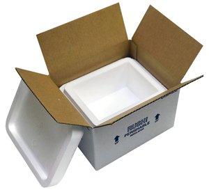 """小さなFoam Cooler Mailer、断熱運送会社、4?Quarts、8?"""" x 6?"""" x 4.25インチ、1.5?""""壁厚さ"""