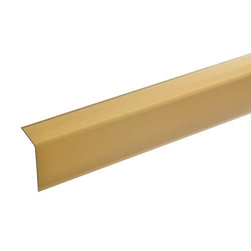 acerto 38337 Aluminium Treppenwinkel-Profil - 100cm, 52x30mm, gold * Rutschhemmend * Robust * Leichte Montage | Treppenkanten-Profil, Treppenstufen-Profil aus Alu | Ungelochtes Stufenkanten-Profil