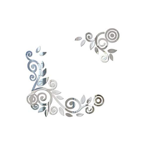 VOSAREA Pegatinas de Pared de Espejo con Forma de Vid Calcomanías de Pared Pegatinas para Comedor Dormitorio Mural Decoración (Plata)