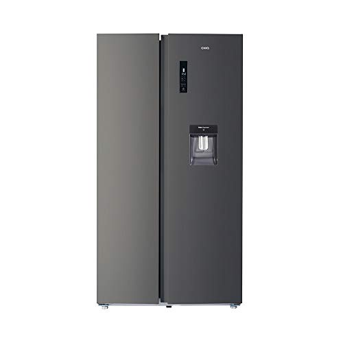 CHiQ FSS559NEI42D Side By Side Kühlschrank mit Inverter und No Frost Technologie 559L | Side-by-Side Kühl- Gefrierkombination mit Wassertank | Wasserspender | Sehr leise 39 db | LED Display