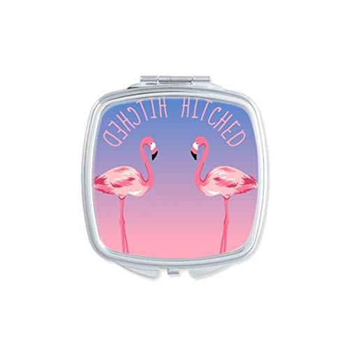 DIYthinker Attelé Couple Flamingo Miroir carré Maquillage Compact Portable Mignon Cadeau Miroirs de Poche à la Main Multicolore