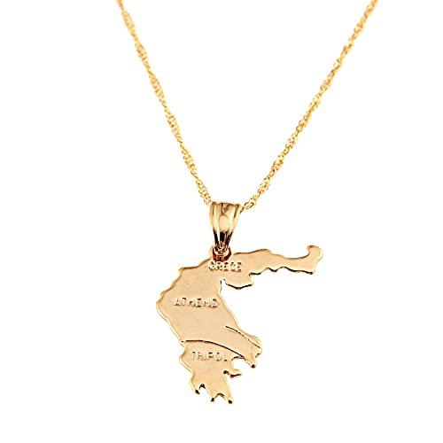 Collar con colgante de mapa de la República de Grecia de Color dorado para mujer, joyería de cadena de mapa griego