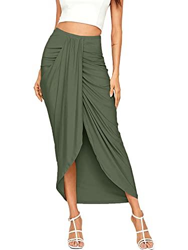 SheIn Women's Casual Slit Wrap Asymmetrical Elastic High Waist Maxi Draped Skirt Small Olive Green