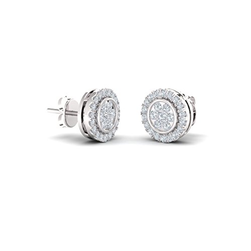 Diamondere Natural and Certified Diamond Petite Stud Earrings in 9ct White Gold | 0.25 Carat Earrings for Women