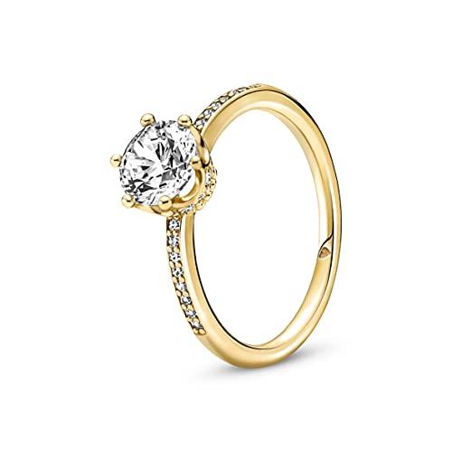 Pandora Anillo para mujer con corona brillante dorada 168289C01, Metal, Circonita cúbica.,