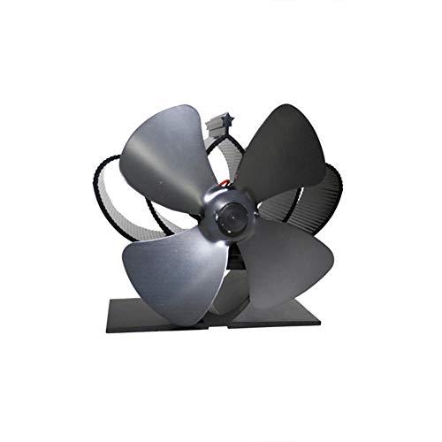 CIVIKY Mini Ventilador de estufa Ventilador de chimenea de 4 aspas Ventilador de quemador silencioso ecológico con energía térmica-Negro