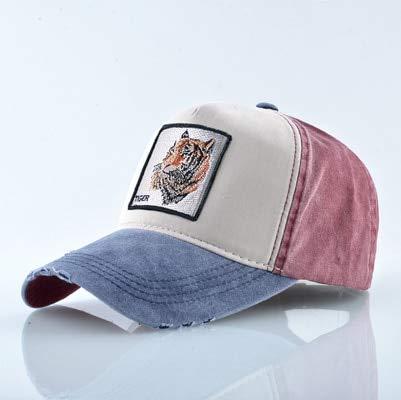 Gorra de béisbol Unisex Hombres Mujeres Moda Snapback Sombrero Primavera Verano Algodón Lavado Denim Hip Hop Casquette-Blue tiger2
