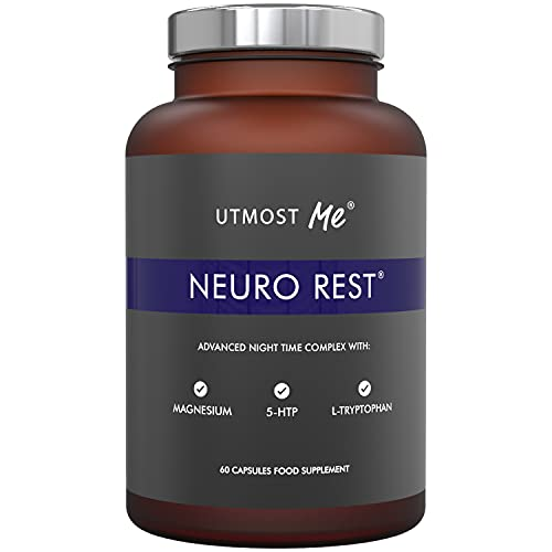 Neuro Rest Sleep Aid Tablets, Natural Melatonin Sources, 5HTP, Magnesium, Montmorency Cherry, Chamomile. Supports Deep Restful Sleep. 60 Vegan Capsules