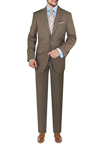 DTI GV Executive Italian Men's 2 Button Wool Suit Ticket covid 19 (Taupe Suit Separates coronavirus)